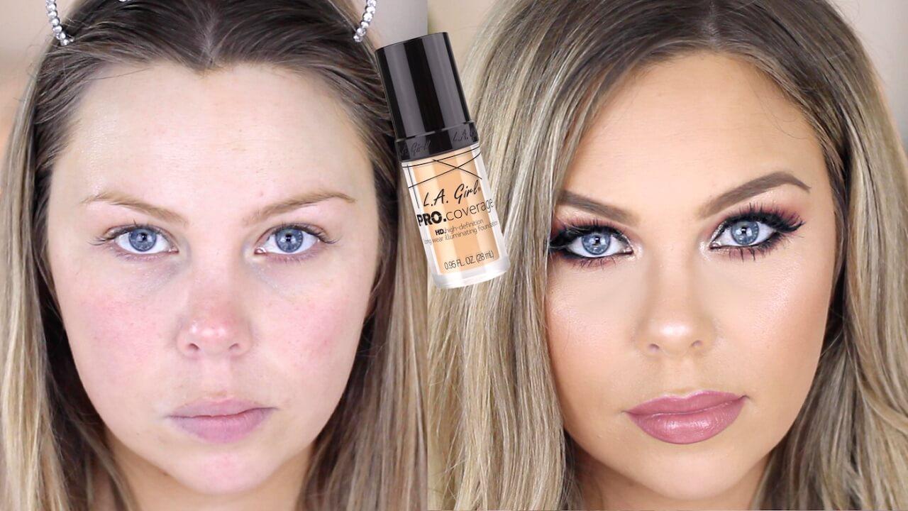 Rozjasňujúci a hydratačný makeup na pleti modelky od značky L.A. Girl.
