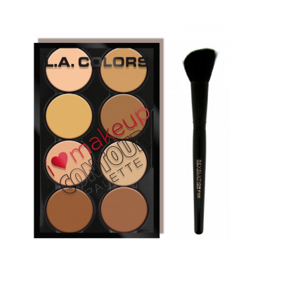 Konturovací set na obličej I Heart Makeup Contour Palette + štětec na konturování F105 Contour Brush