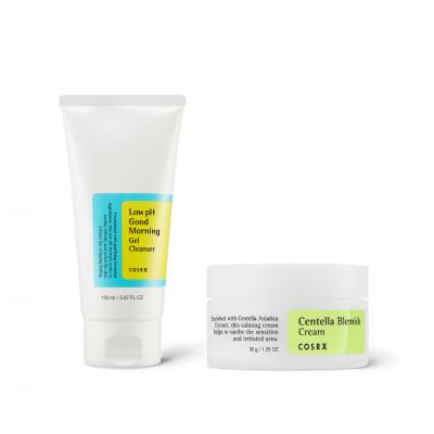 COSRX Výhodná sada pro citlivou pleť čistící gel Good Morning Low-pH Cleanser + krém na obličej Centella Blemish cream